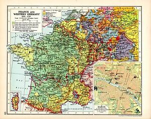 HISTORICAL MAP ~ FRANCE & WESTERN GERMANY ~ CORSICA ~ ENVIRONS OF PARIS
