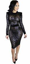 Kearia Womens Sexy Black Sequin Scoop Neck Long Sleeve, Black, Size Medium 40ZW
