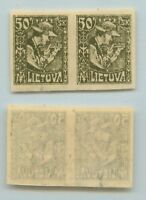 Lithuania 🇱🇹  1921  SC  102a  mint imperf, pair, small  thin  place. d7264
