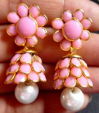 Gold Plated Baby Pink Colour Bead Pearl Set 1.5'' Long Indian Jhumka Earrings