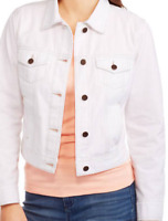 FADED GLORY WOMENS CLASSIC LONG SLEEVE DEMIN WHITE JACKET SIZE M  NEW
