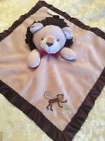 FAO Schwarz Tan Brown Plush Lion Monkey Satin Security Blanket Baby Lovey