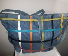RETRO jean purse color blocks DOVE zip large TOTE bag crossbody messenger VTG