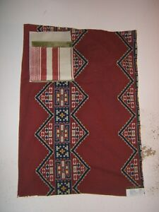 Lee Jofa, Ketema Embroidery, Ethnic Design, Remnant, Color Red Multi