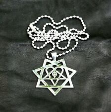 HEARTAGRAM Polished Stainless Steel pendant w/30 inch ball chain