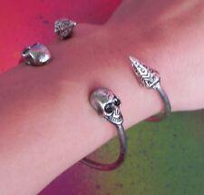 2 Cuffs Solid Double Skull Twin Head Twin Pyramid Silver Bangle Cuff Bracelet