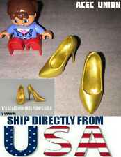 "1/6 Scale High Heel Pumps Shoes GOLD For 12"" PHICEN Female Figure U.S.A. SELLER"