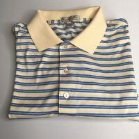 Mens Peter Millar Cotton Comfort Striped Athletic Polo Golf Shirt Size Medium M