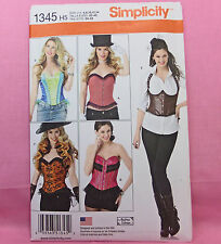 Simplicity 1345 Steampunk Corset 5 Looks Costume Sewing Pattern Sz 6-14 NEW!