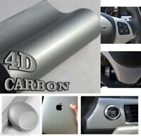ARGENTO LUCIDO 4D vinile effetto fibra di carbonio pellicola adesivo COPERTURA