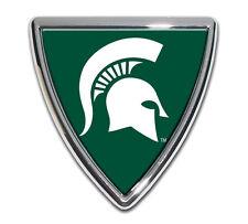 michigan state spartan head shield green shiny chrome logo auto emblem usa made