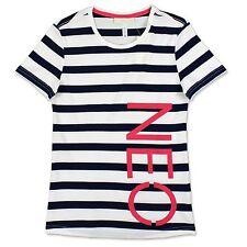 Adidas Neo a rayas Tee Mujer Ocio & Sport Rayas Camiseta blanca azul marino XXS