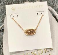 New Kendra Scott Elisa Pendant Rose Gold Necklace In Rose Gold Drusy