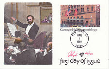 PUGH HAND PAINTED FIRST DAY COVER FDC 1991 CARNEGIE HALL POSTAL CARD INFO ON BAC