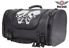 Motorcycle Sissy Bar Bag / Travel Trunk with Reflective Skulls and Rain Cover