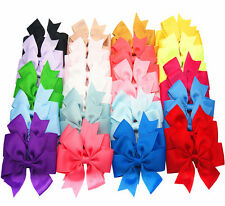 "20pcs Kids Baby Girls 4"" Alligator Clip Ribbon Hair Bows Clips"