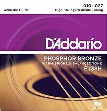 D'Addario Phosphor Bronze Guitar Strings, High Strung/Nashville Tuning, 10-27