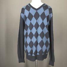 OLD NAVY Sweater L Mens Blue V-Neck Diamond Design Geometric Cotton