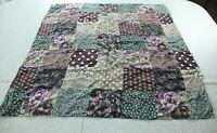 "Vintage 90s 34"" Square Silk Scarf Patchwork Purple Green Floral Boho Grunge Hair"