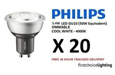 20 X Philips 5.4 W (50 W) Baja Energía Spot LED GU10 Regulable Lámparas incandescentes Cool Blanco