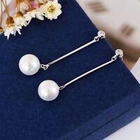 New 925 Sterling Silver Elegant Long Bar White Pearl Drop Dangle Stud Earrings