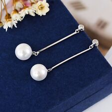 New 925 Sterling Silver Elegant Long Bar White Pearl Drop Dangle Stud Earrings