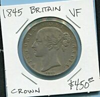 GREAT BRITAIN - BEAUTIFUL HISTORICAL SCARCE TONED QV SILVER CROWN,1845, KM# 741