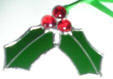 Stained Glass Holly, Birthday Flower December, Christmas Decoration, Suncatcher