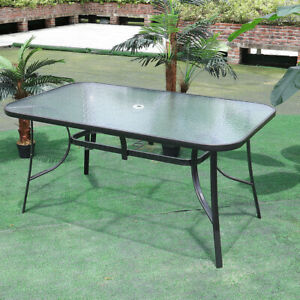 Outdoor Dining Table Garden Patio Bistro Tempered Glass Top Table w/Parasol Hole