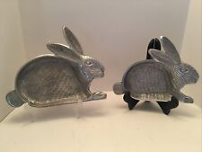 Collectible Easter Bunny Rabbit Serving Plate Tray Dish Pewter Silver Metal (2)