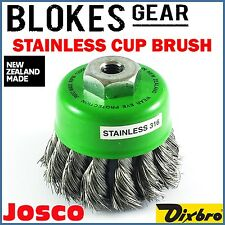 """Josco Dixbro Wire Cup Brush STAINLESS STEEL Knot M10 4"""" Angle Grinder MADE IN NZ"""