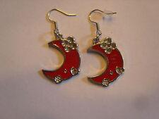 Ohrringe roter halb Mond mit Herz und Kleeblatt Größe ca:2,8 cm Email 1383