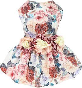 Fitwarm Fancy Flower Dog Dresses Girl Dog Cloth Doggie Wedding Gown Party Dress