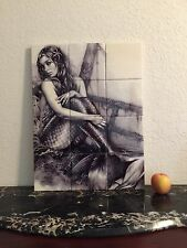 "Hangable Tile Mural  / Mermaid Mural / Bathroom Art / Mermaid Art 18""x24"""
