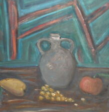 Vintage expressionist oil painting still life signed