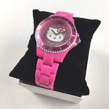 SANRIO Woman's Hello Kitty Wristwatch Pink Sparkle Face Watch Adjustable Clasp