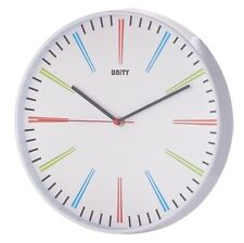 """UNITY SILENT SWEEP SIDDAL NON-TICKING WALL CLOCK 12"""" 30CM"""