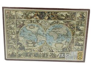 NEW Vintage FX Schmid Jigsaw Puzzle 1983 Antique World Map 1500 Pcs WEST GERMANY