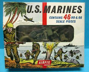 AIRFIX S16 1/72 HO/OO WWII US MARINES 1st TYPE 1964 46 pcs SET EXC GEM BOX RARE