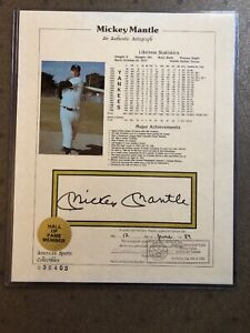 Mickey Mantle Notarized Autograph Picture Beckett Certified