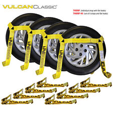 VULCAN Flat Bed Car Tie Down Kit, Wheel Tire Basket Strap - Set of 4 Auto Straps