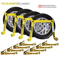 VULCAN Flat Bed Car Tie Down Kit, Wheel Tire Basket Strap - Set of 4 Auto Straps