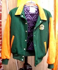 MGM Grand Casino Jacket/Coat-Wool/Suede Leather-Mens Size M-Hunter Green/Brown