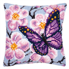 Purple Butterfly-Chunky Cross Stitch Cushion Kit Printed Tapestry Canvas Vervaco