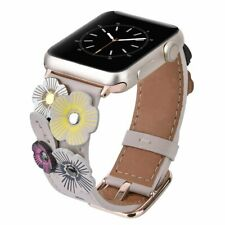 Handmade Tea Rose Genuine Leather Apple Watch Band for Series 1 2 3 4 5 Ivory