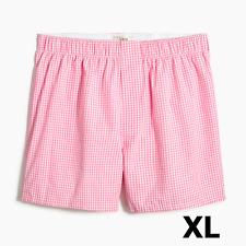 J Crew Boxers Men's XL Extra Large 38-40 Pink Gingham Cotton Boxer Shorts