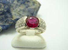 Weißgold Rubin Brillant Ring Gr. 52 Diamant Damenring 750 Gold