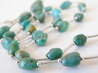 """Sterling Silver 925 Green Blue Turquoise Station Bead Beaded Necklace 21"""""""