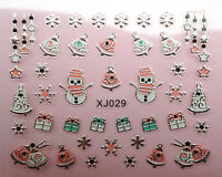 Christmas SILVER Snowflakes Snowman Gifts Star Bells 3D Nail Art Stickers Decals