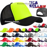 Trucker Hat Foam Mesh Baseball Cap Snapback Adjustable Solid Blank Curved Mens